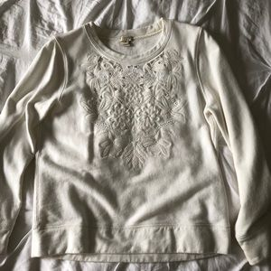 Jcrew white embroidered sweatshirt